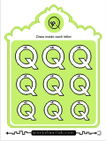 Printing practice activities for the capital letter Q