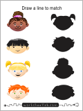 Draw a line to match each head to each sillouette.